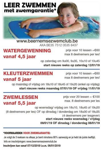 Overzicht mogelijk inschrijvingen zwemschool