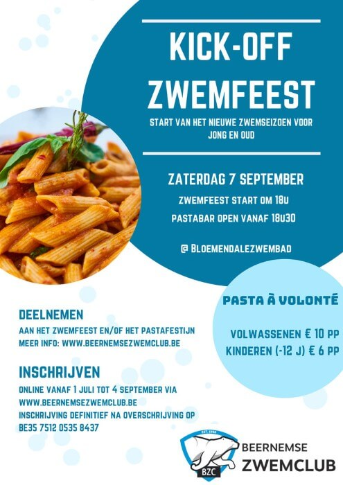 Poster Kick-Off zwemfeest te Beernem op 7 september