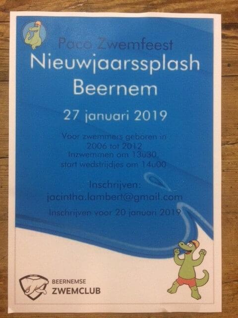 Poster nieuwjaarssplash te Beernem op 27 januari